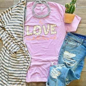 Tops - To love and be loved purple and leopard tee shirt